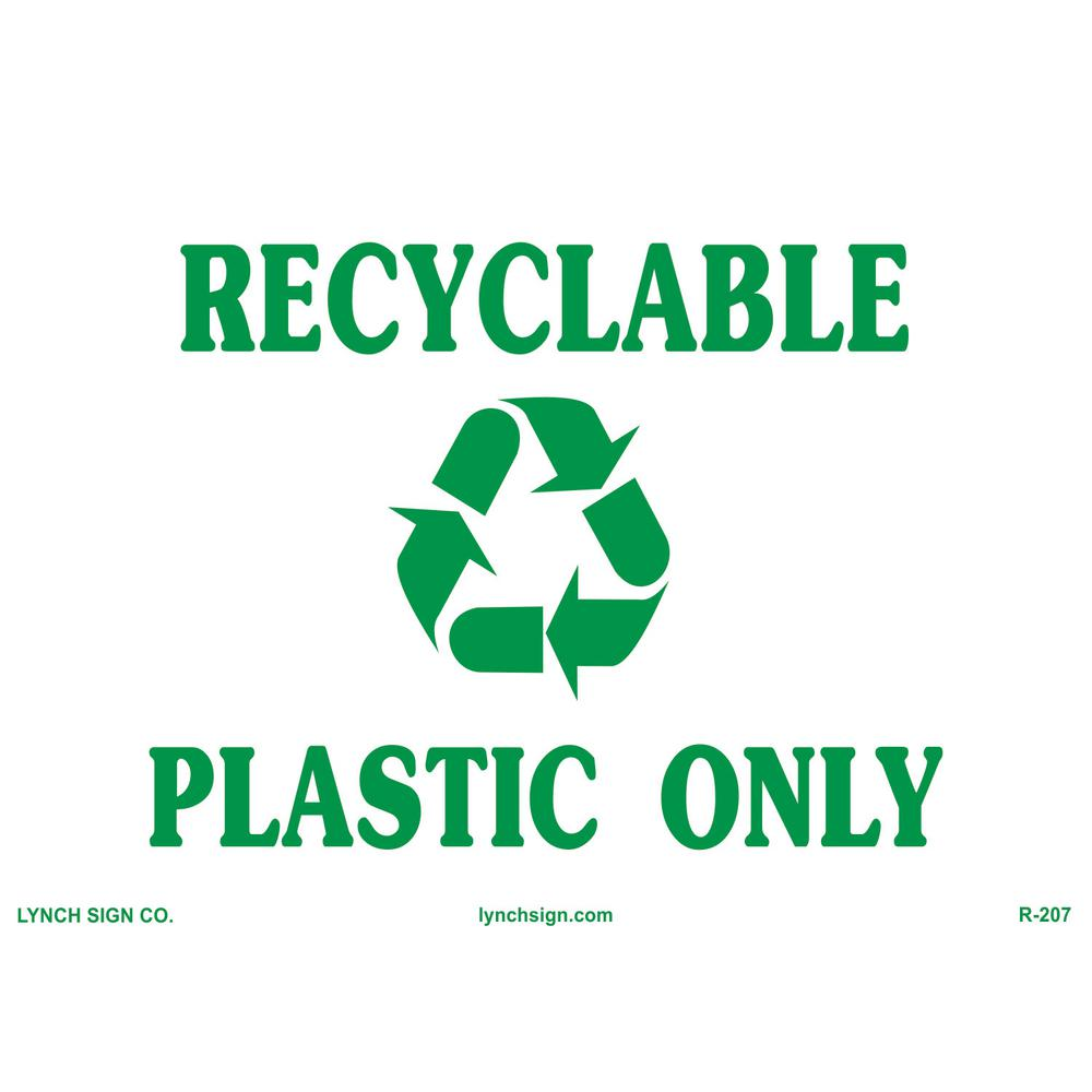 Recycling Signs Plastic 14 in. x 10 in. Recycl...