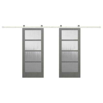 72 in. x 84 in. 4-Lite Clear Coat Driftwood Mist Lite Interior Barn Door with Stainless Steel Sliding Hardware Kit