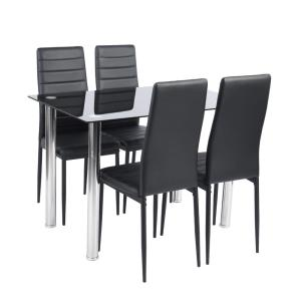 FurnitureR 5-Piece Black Modern Glass Dining Faxu Leather Table Set