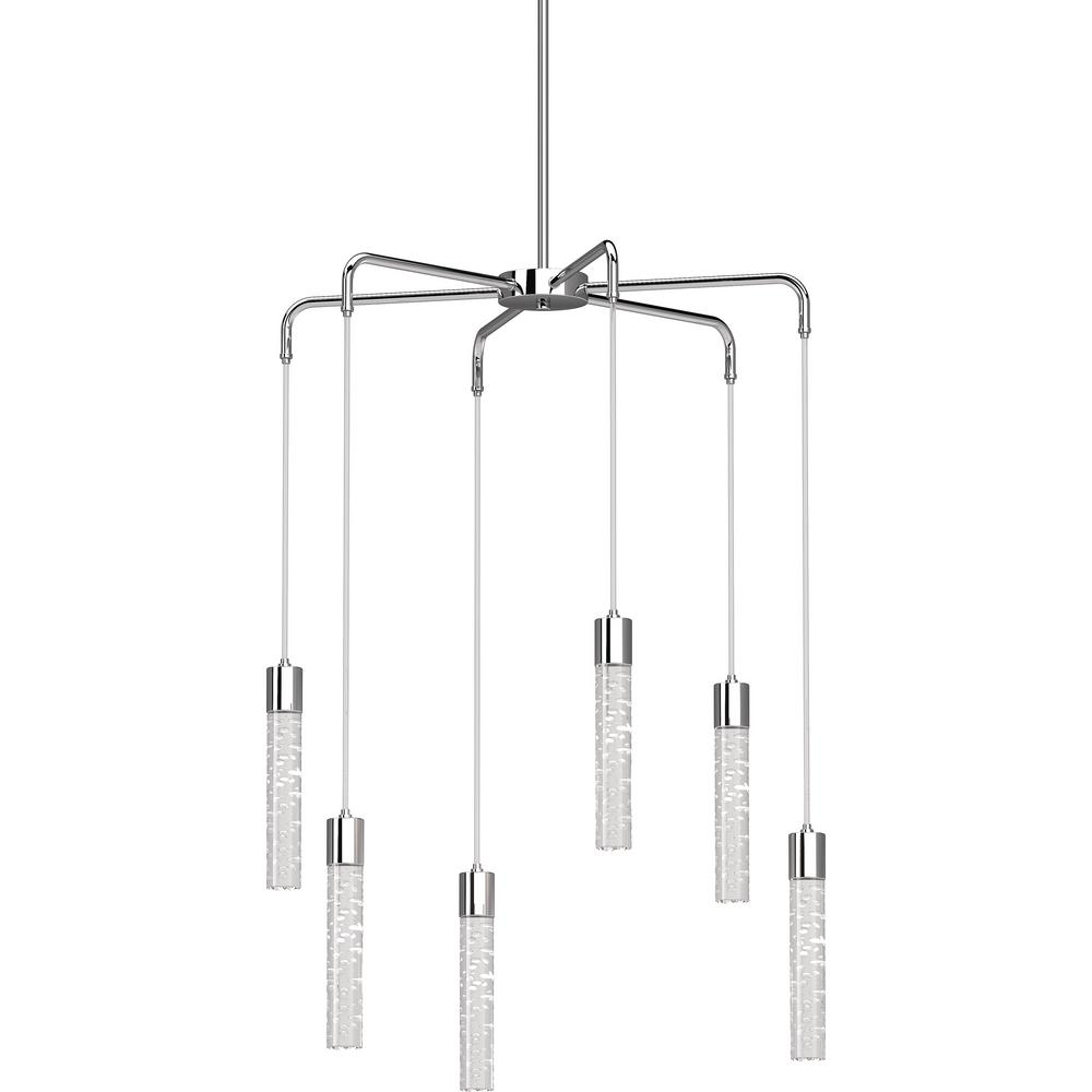 Tristen 6 Light Chrome Indoor Integrated Led Chandelier With Clear Bubble Acrylic
