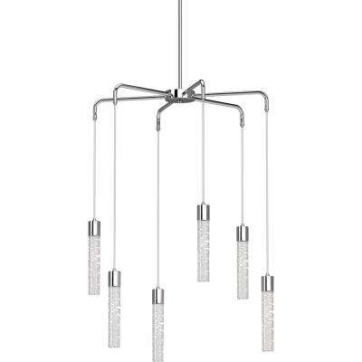 Tristen 6-Light Chrome Indoor Integrated LED Chandelier with Clear Bubble Acrylic