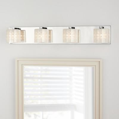 Pommercy Place Collection 4-Light Chrome Vanity Light with Sand Blasted Glass Shades and Glass Decorative Beads