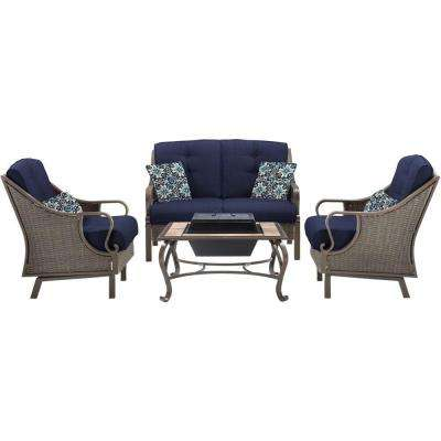 Ventura 4-Piece All-Weather Wicker Patio Wood-Burning Fire Pit Conversation Set with Navy Blue Cushions