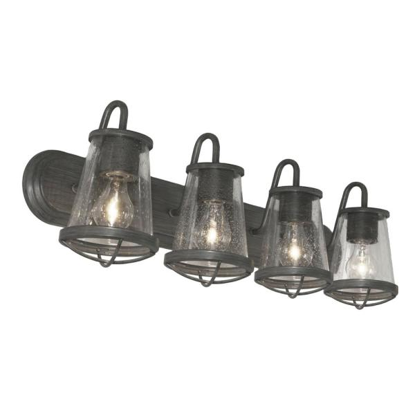 Cordelia Lighting 4 Light Weathered Iron Vanity Light With Clear Seedy Glass Shades 2584 322 The Home Depot