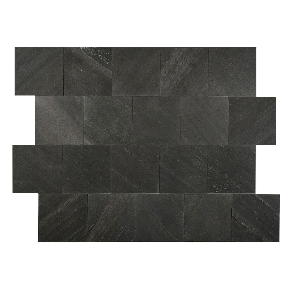 OutdoorPatio Slate Tile Natural Stone Tile The Home Depot - 4 inch slate tile