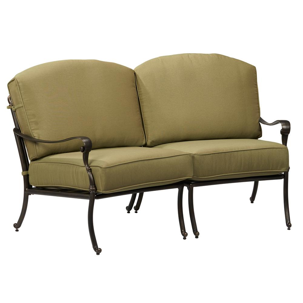 Hampton bay edington curved patio loveseat sectional with celery cushions 141 034 sec2 the Loveseat cushions for outdoor furniture