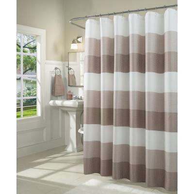 Ombre 72 in. Taupe Waffle Weave Fabric Shower Curtain