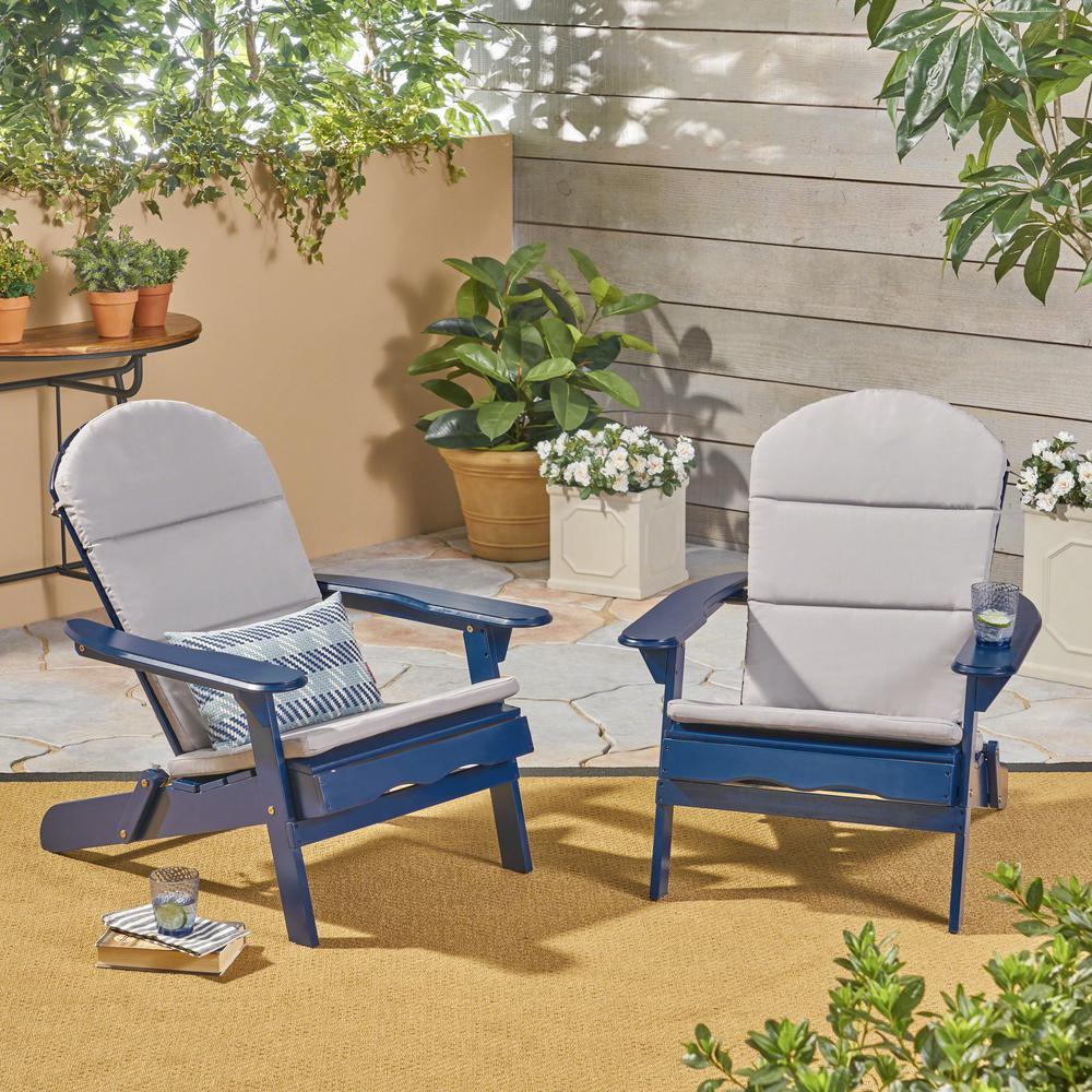 Malibu Navy Blue Folding Wood Adirondack Chairs with Gray Cushions (2-Pack)