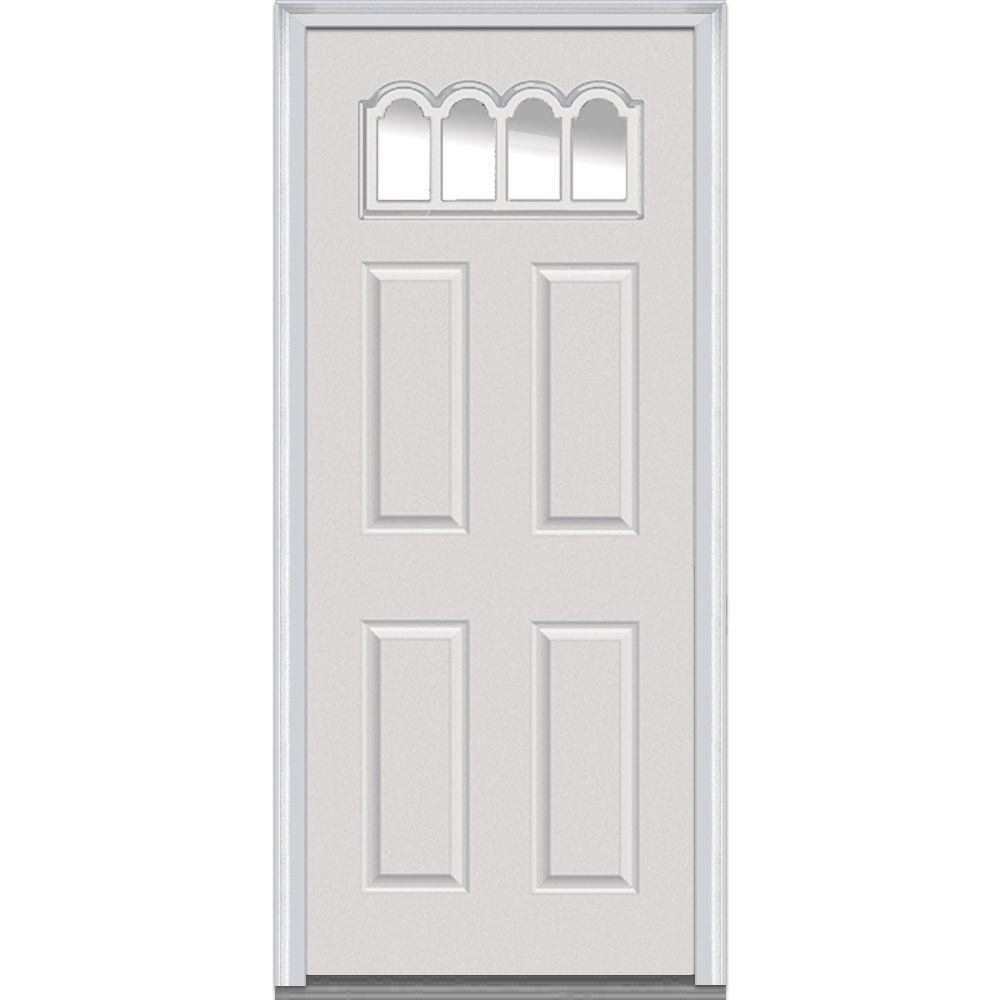 Mmi Door 30 In X 80 In Clear Right Hand Gothic 1 4 Lite 4 Panel Classic Primed Fiberglass