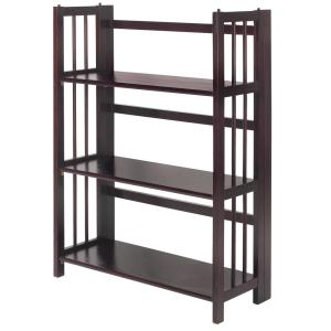 Casual Home 38 In Espresso Wood 3 Shelf Etagere Bookcase With Open Back 330 24 The Home Depot