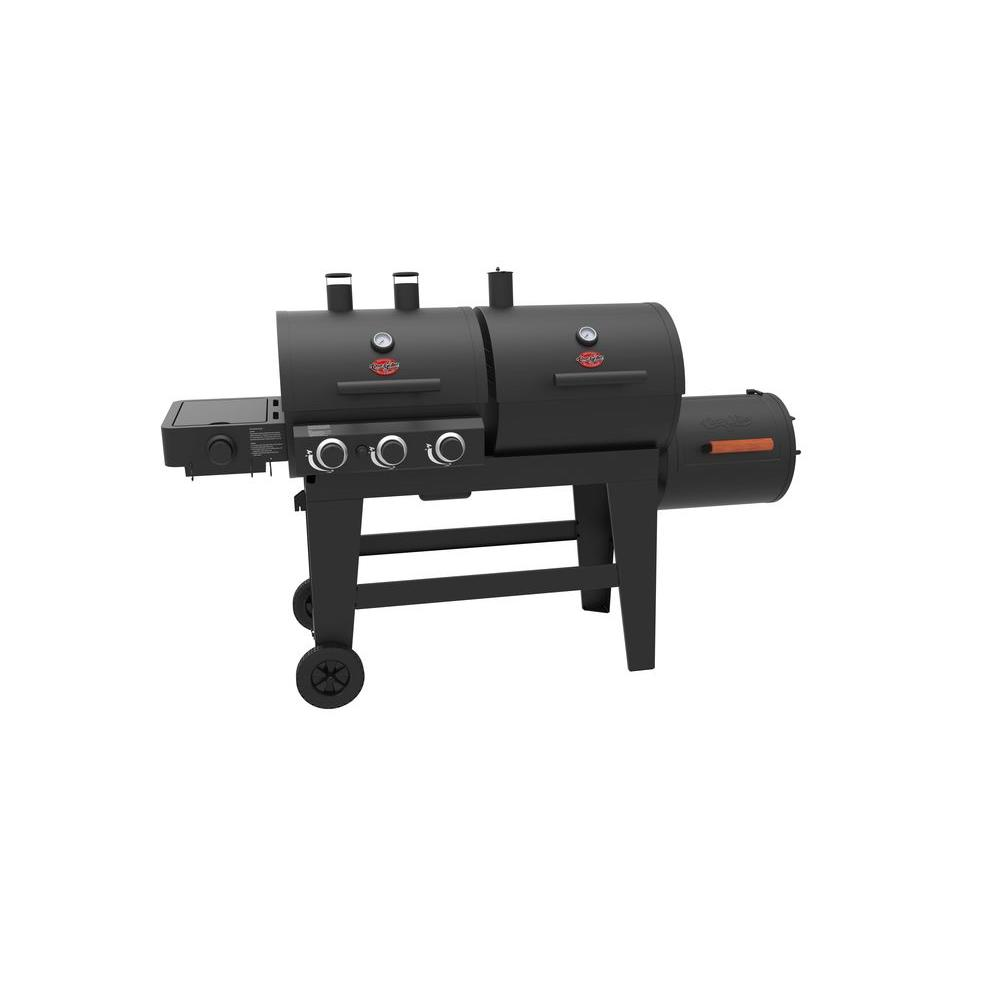 Triple Play 3 Burner Gas Charcoal Grill And Horizontal Smoker In Black