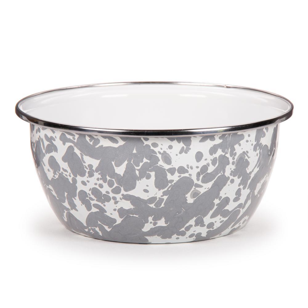 Grey Swirl 3-cup Enamelware Salad Bowl