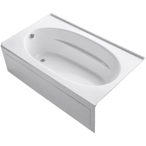 Kohler Windward 6 ft. Left-Hand Drain with Tile Flange and Farmhouse Rectangular Alcove Bathtub in White by KOHLER