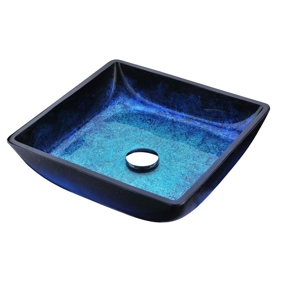 Viace Series Deco Glass Vessel Sink In Blazing Blue