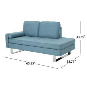 Noble House Typhaine Modern Blue Fabric Chaise Loveseat ...