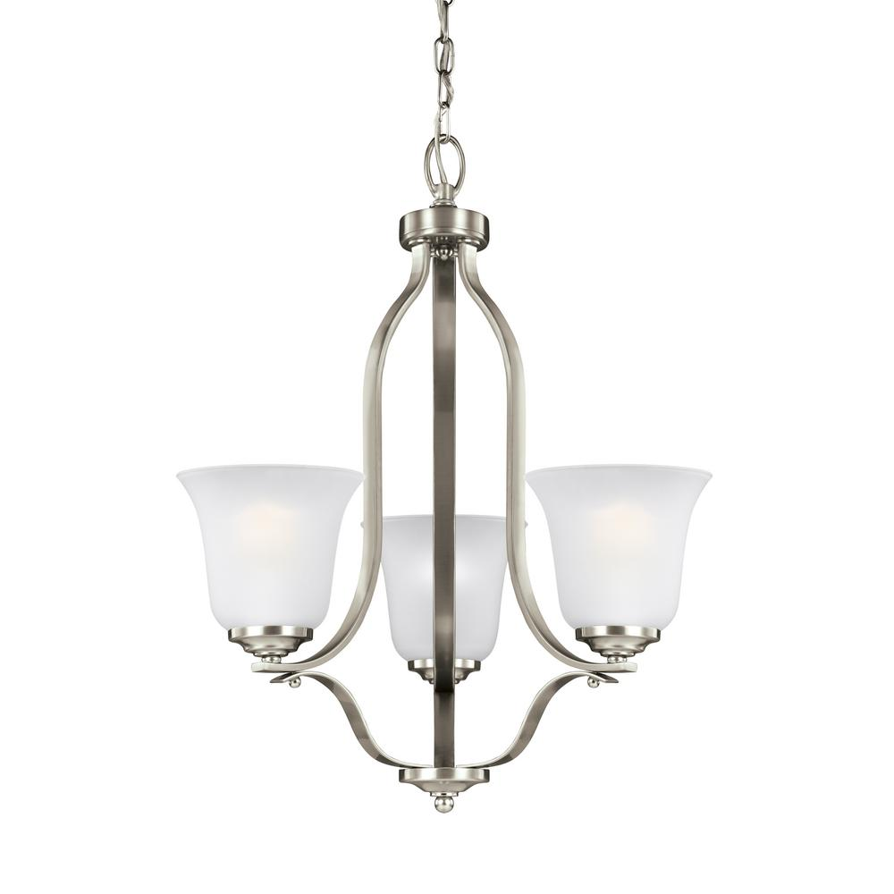 Emmons 3-Light Brushed Nickel Chandelier with LED Bulbs