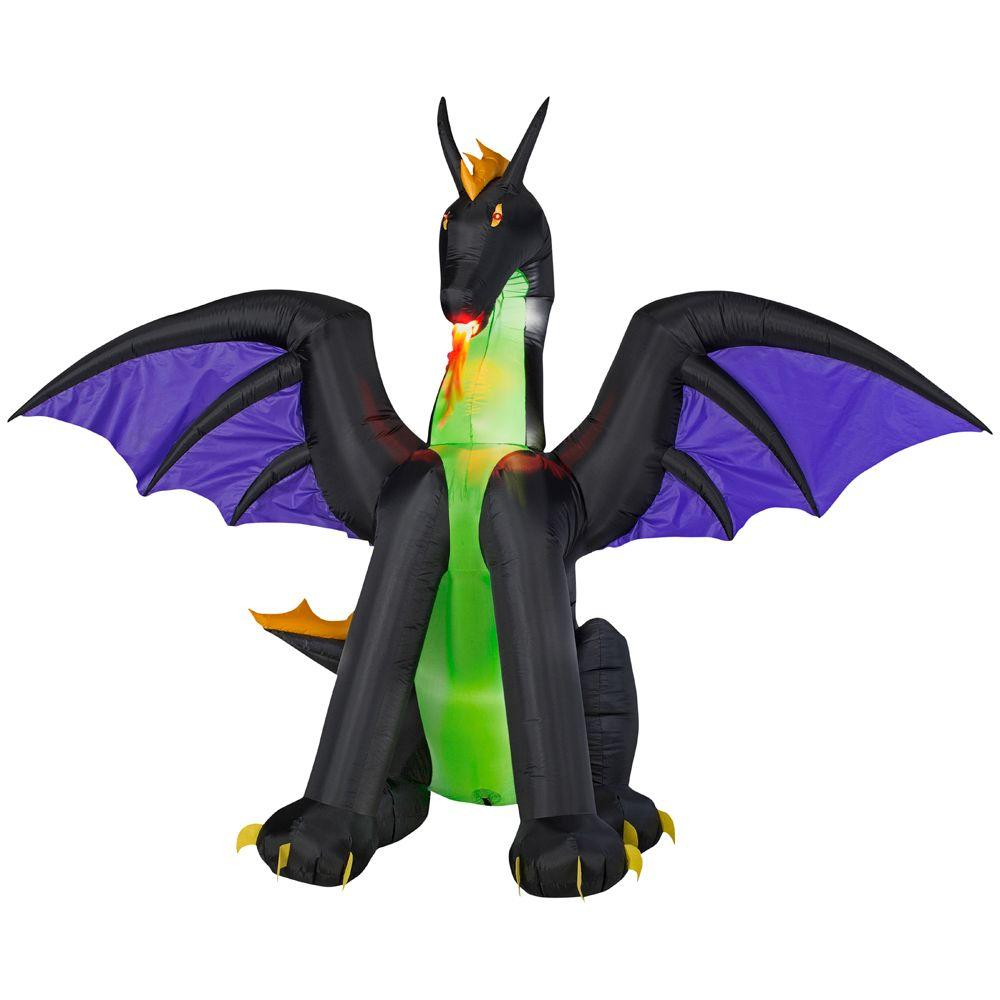 Gemmy 6 ft Lighted Dragon with Flaming Mouth Halloween Inflatable