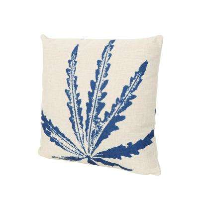 Cypress Beige and Blue Square Outdoor Throw Pillow