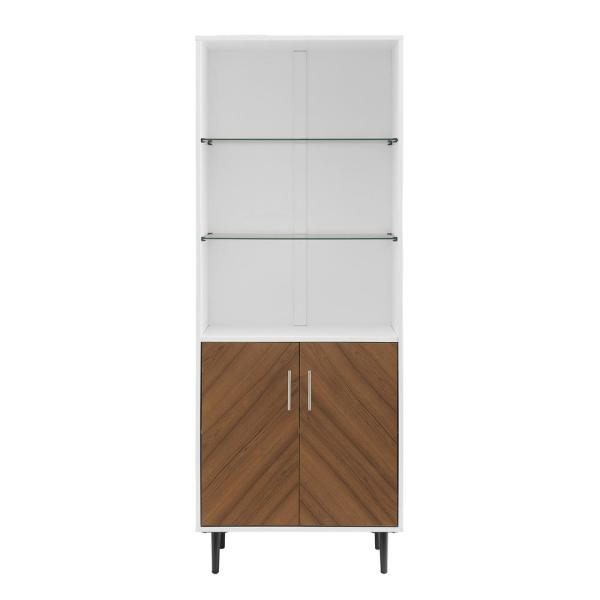 3 Shelf Solid White Bookmatch Display Cabinet