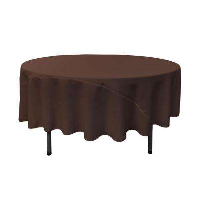 90 in. Round Brown Polyester Poplin Tablecloth