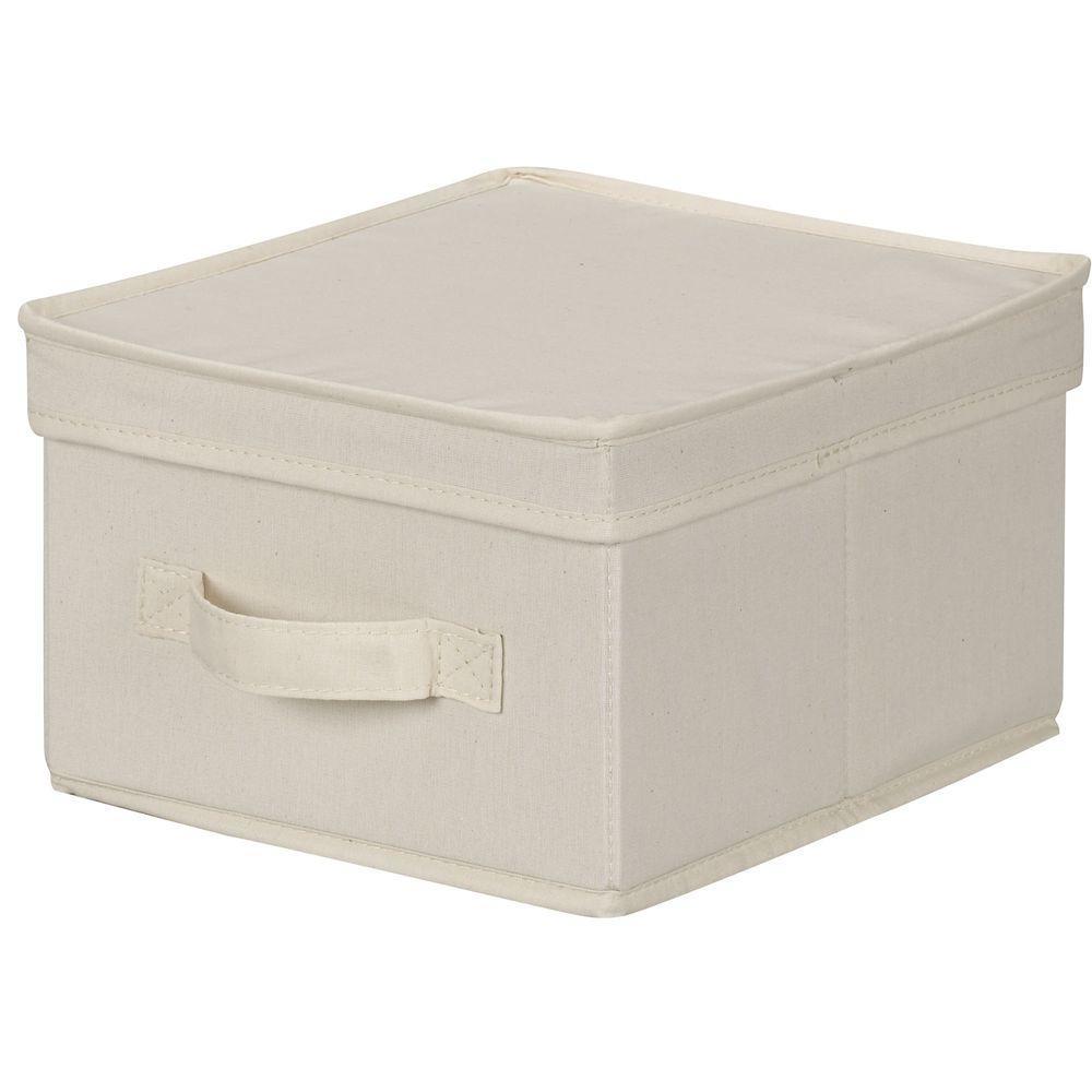 Household Essentials 10 in. x 11 in. Natural Canvas Medium Storage Box