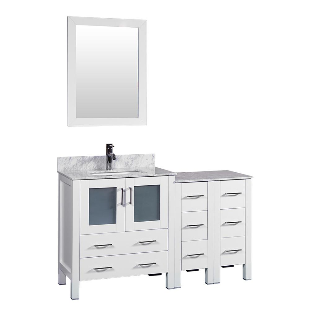 Bosconi 54 in. W Single Bath Vanity in White with Carrara Marble Vanity Top with White Basin and Mirror