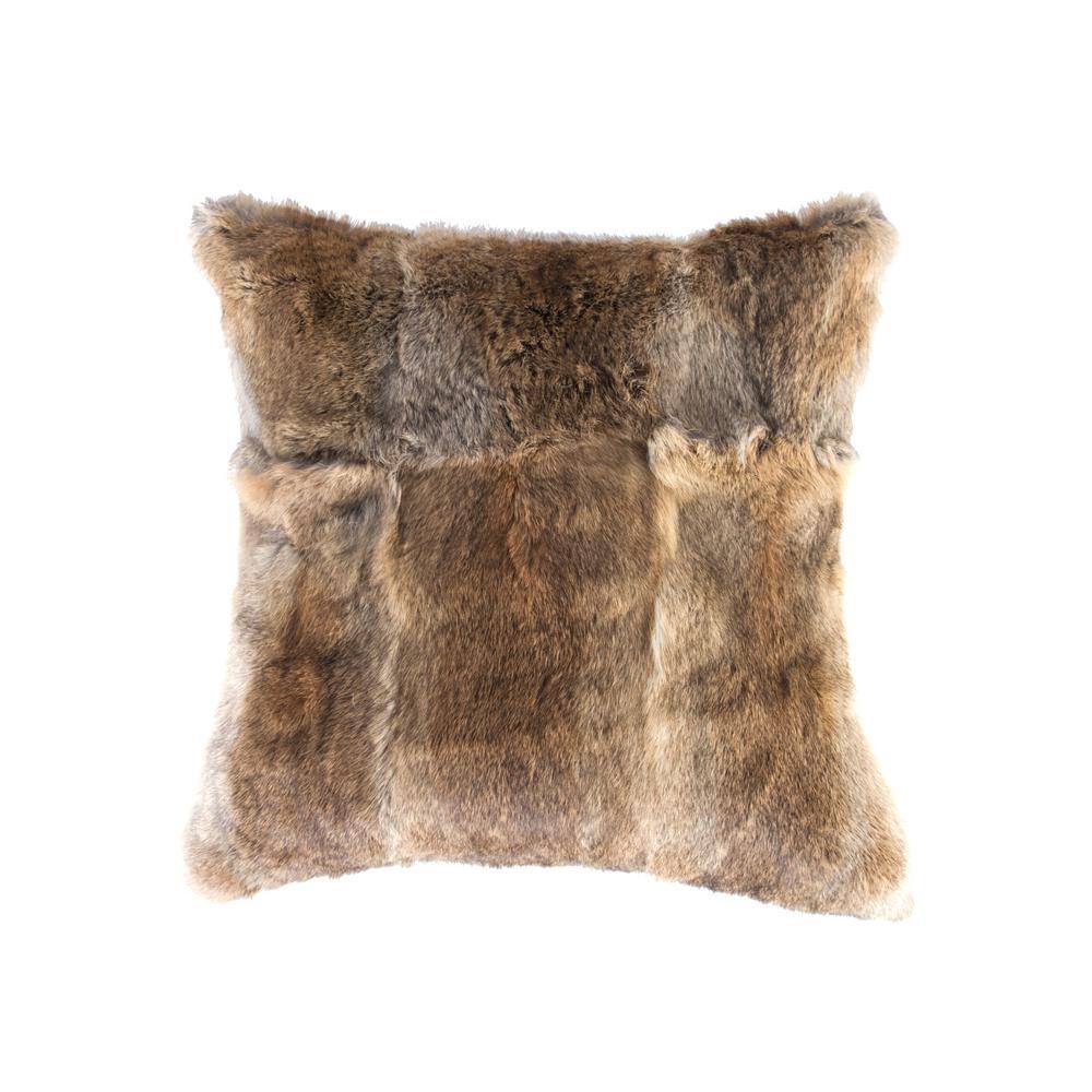 Rabbit Fur 18 in. x 18 in. Hazelnut Pillow