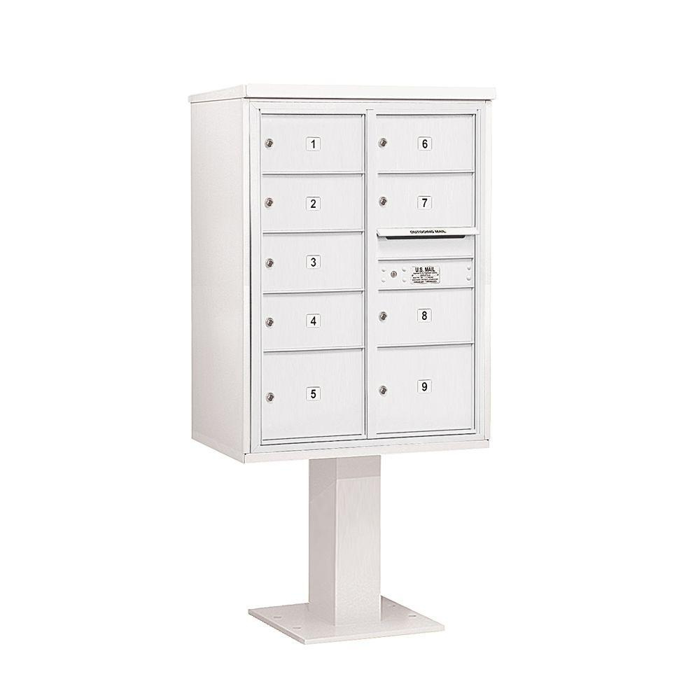 Salsbury Industries 3400 Series 69-1/8 in. 11 Door High Unit White 4C Pedestal Mailbox with 7 MB2/2 MB3 Doors