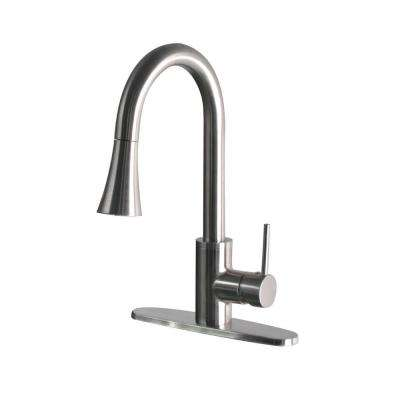 Modern Single-Handle Pull-Down Sprayer Kitchen Faucet in Stainless Steel
