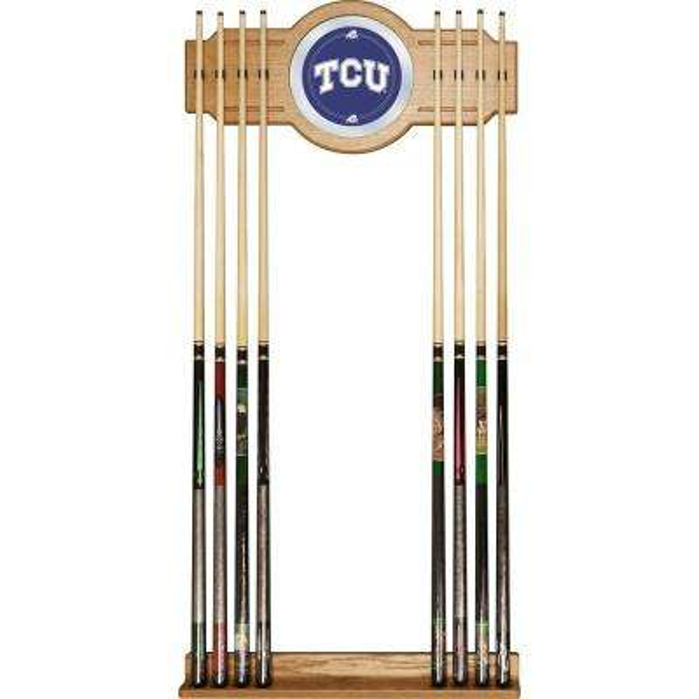 Texas Christian University 30 in. Wooden Billiard Cue Rack with Mirror