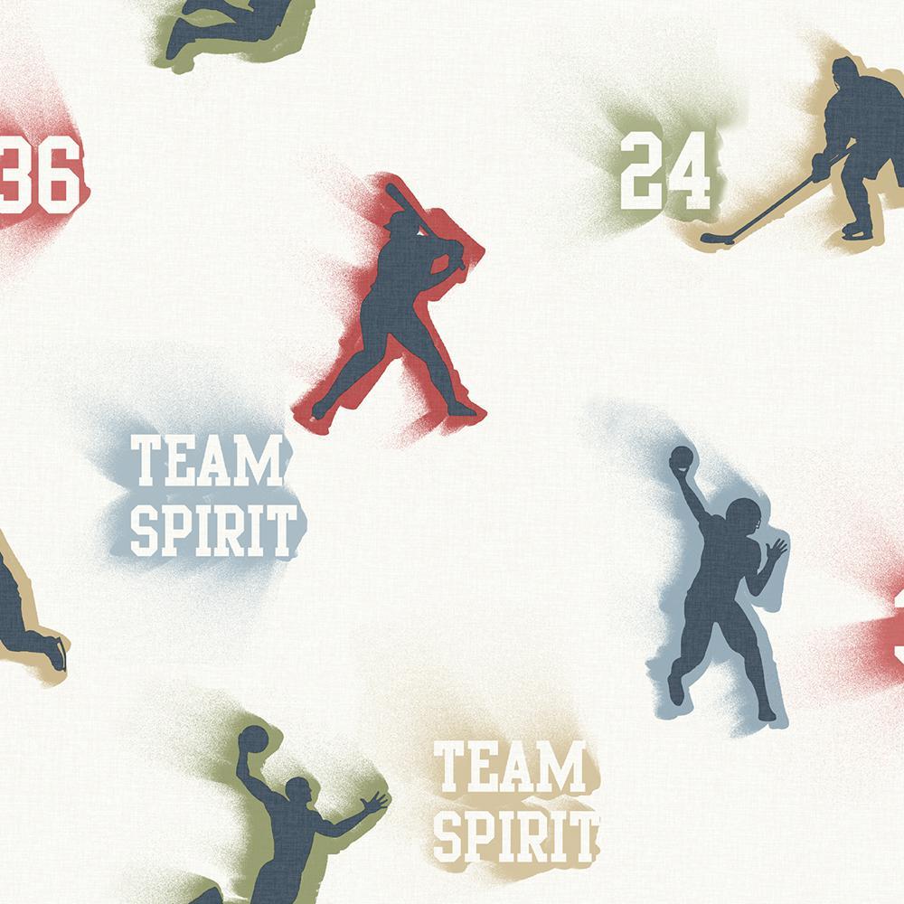 Glavine Cream Sports Figures Toss Wallpaper Sample