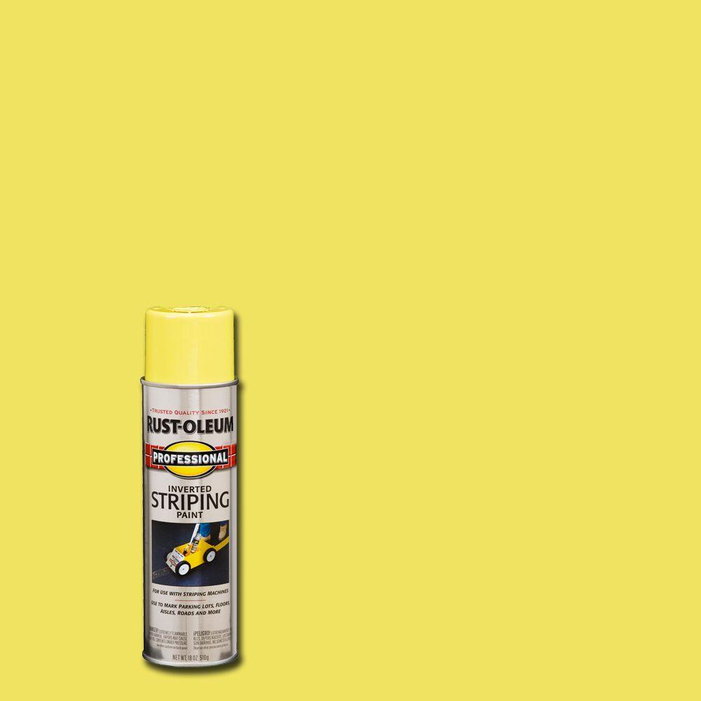 Rust Oleum Professional 18 Oz Flat Yellow Striping Spray Paint 2548838 The Home Depot