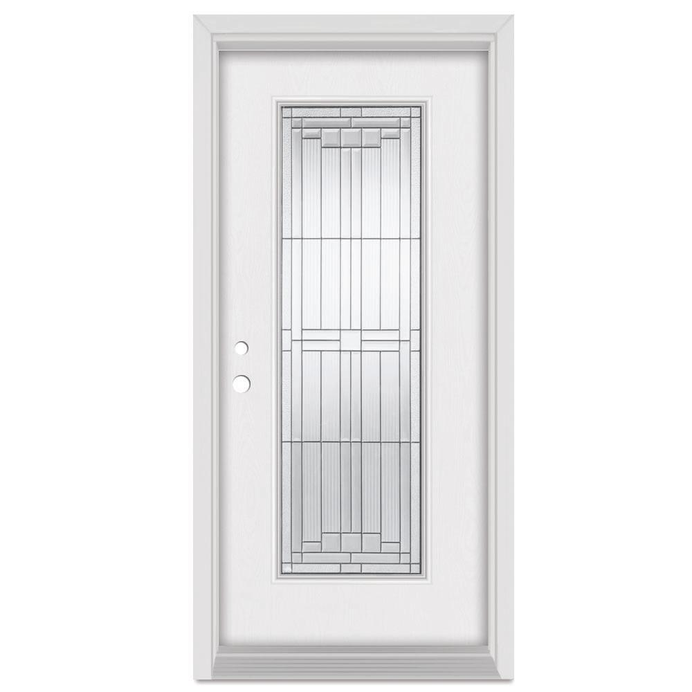 Stanley Doors 36 in. x 80 in. Architect Right-Hand Patina Finished Fiberglass Mahogany Woodgrain Prehung Front Door Brickmould