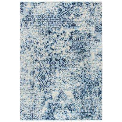 Panache Ivory/Blue 6 ft. 7 in. x 9 ft. 6 in Rectangle Area Rug