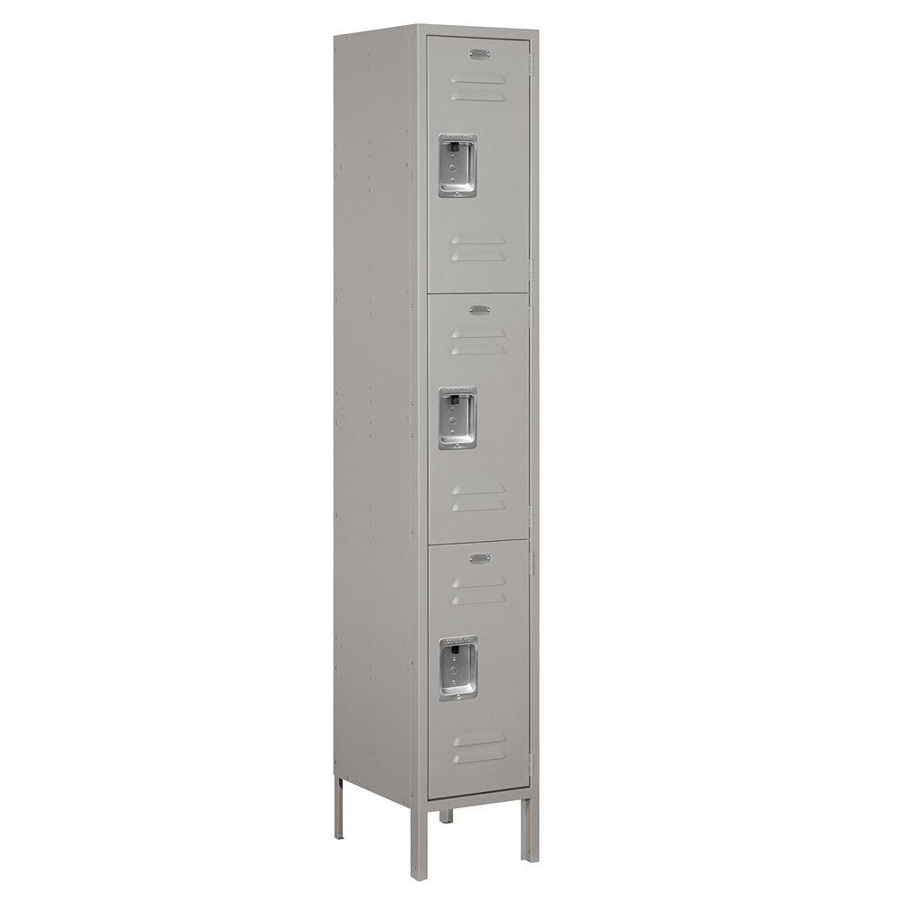 Salsbury Industries 53000 Series 15 in. W x 78 in. H x 15 in. D Triple Tier Extra Wide Metal Locker Unassembled in Gray