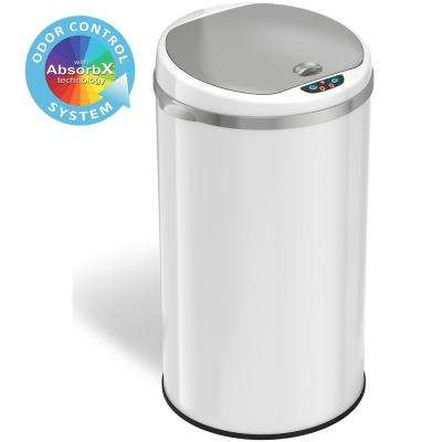8 Gal. Matte Pearl White Touchless Round Motion Sensing Trash Can with Odor Filter