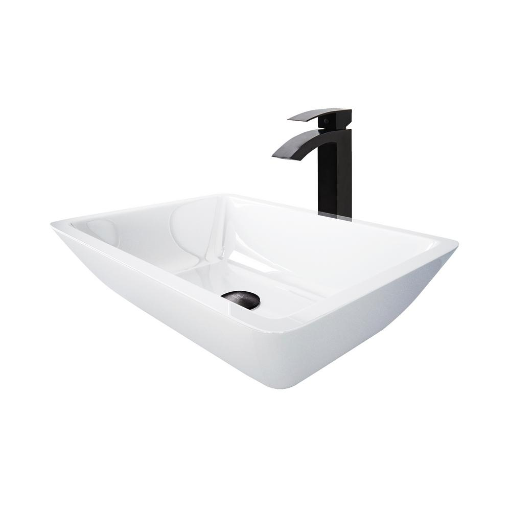 Vigo Phoenix Stone Vessel Sink In White With Duris Vessel Faucet In