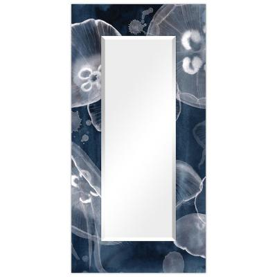 Oversized Rectangle Dark BlueWhite Beveled Glass Contemporary Mirror (72 in. H x 36 in. W)