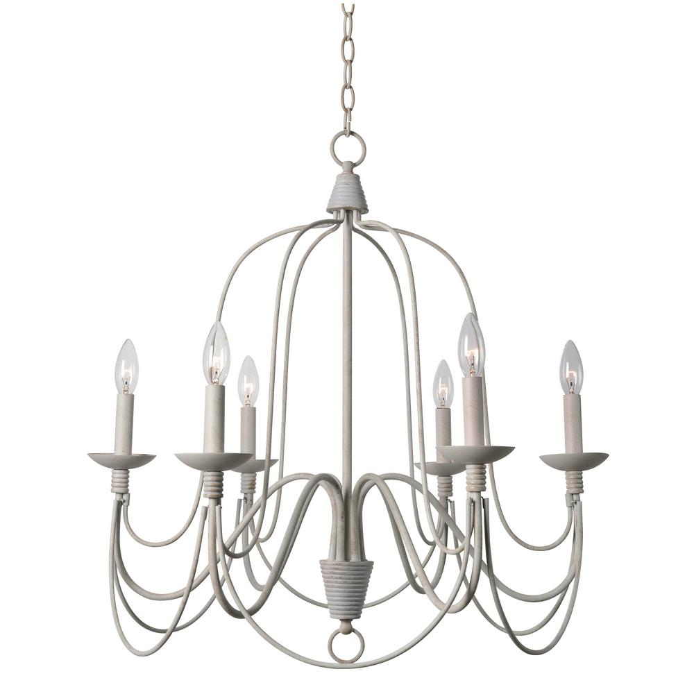 Kenroy Home Pannier 6-Light White Chandelier - Kenroy Home Pannier 6-Light White Chandelier-93066WH - The Home Depot