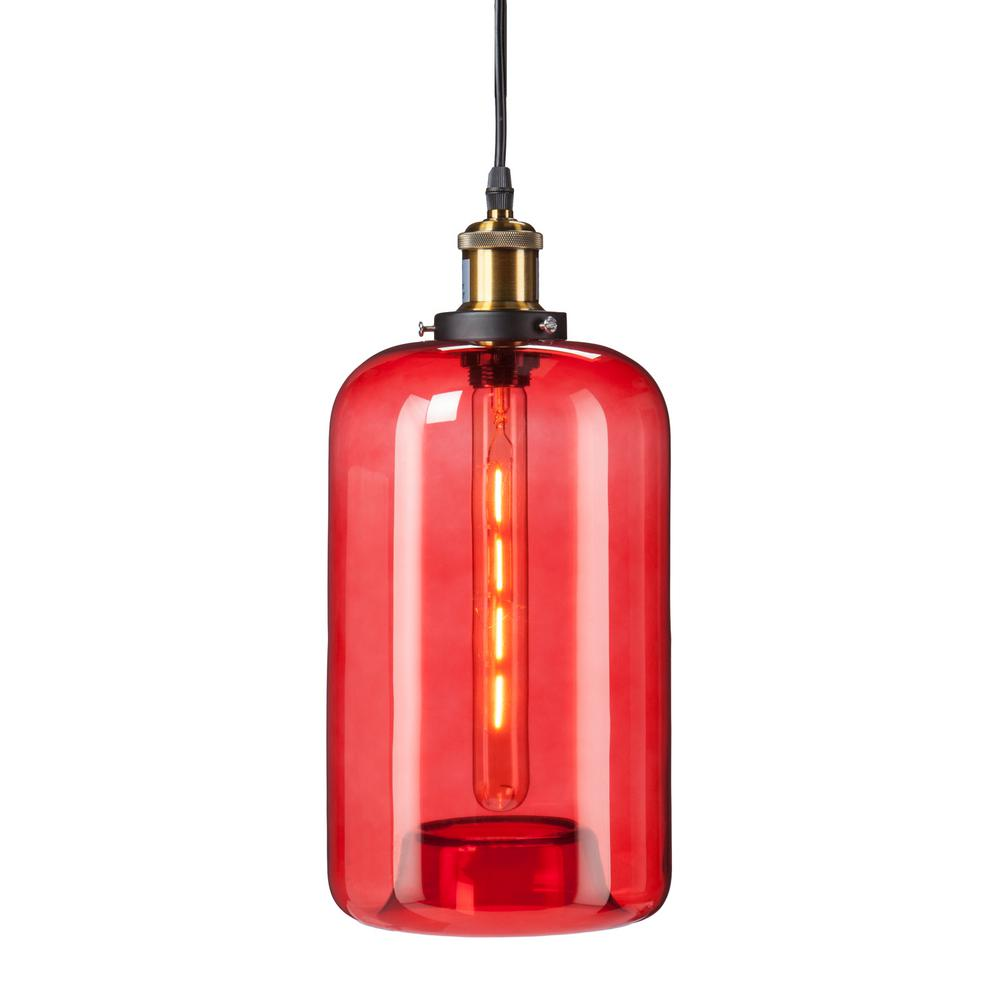 Heather 1 light red colored glass mini pendant lamp