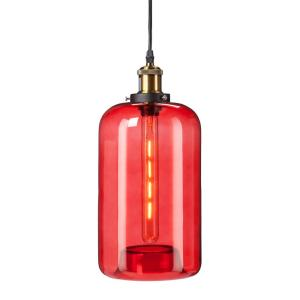 Heather 1 Light Red Colored Glass Mini Pendant Lamp HD88333   The Home Depot Photo