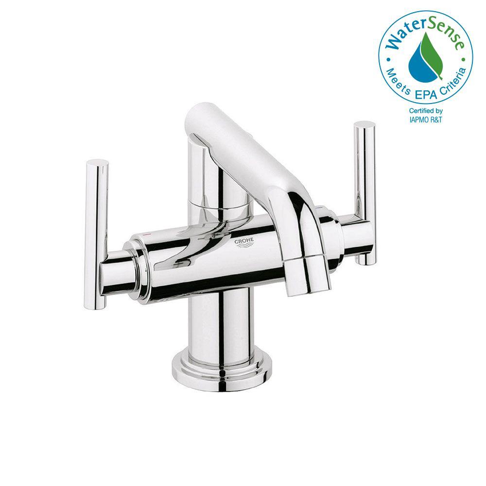 GROHE Atrio Single Hole 2 Handle Low Arc Bathroom Faucet In StarLight  Chrome Less
