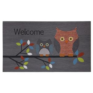 Patterned Owls Gray 18 inch x 30 inch Door Mat by
