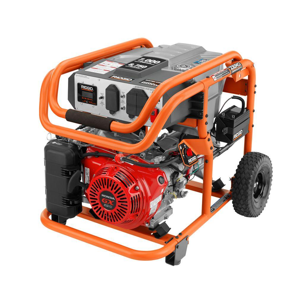 RIDGID 7000 Watt Gasoline Powered Electric Start Portable Generator With Honda GX390 Engine
