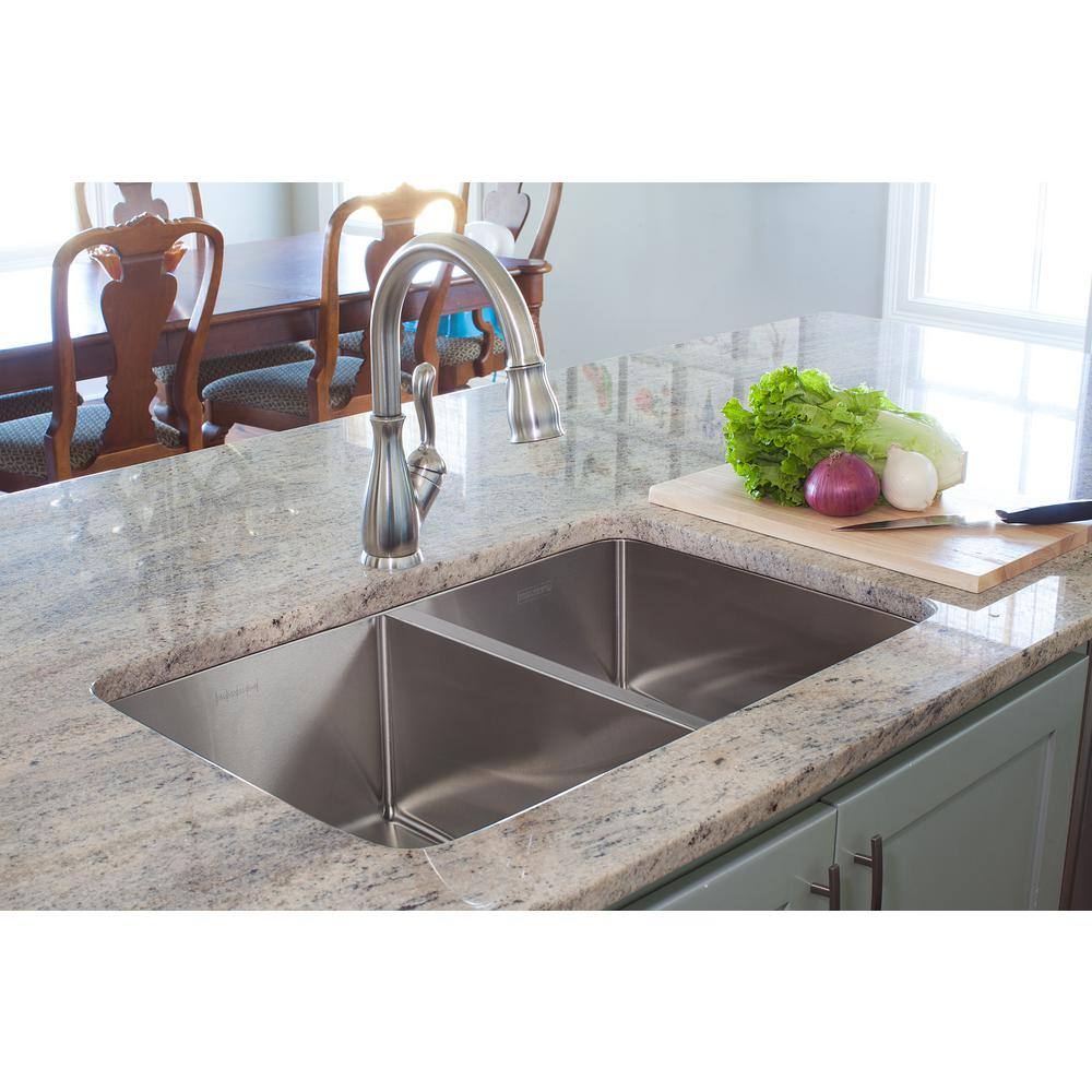 Franke Vector Drop-In/Undermount Stainless Steel 33.5 in. 2-Hole Double  Bowl Kitchen Sink