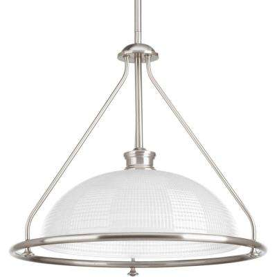 Lucky Collection 1-Light Brushed Nickel Foyer Pendant with Frosted Prismatic Glass