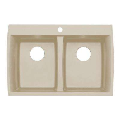 Dual Mount Granite 33 in. 1-Hole Double Bowl Kitchen Sink in Sahara Beige