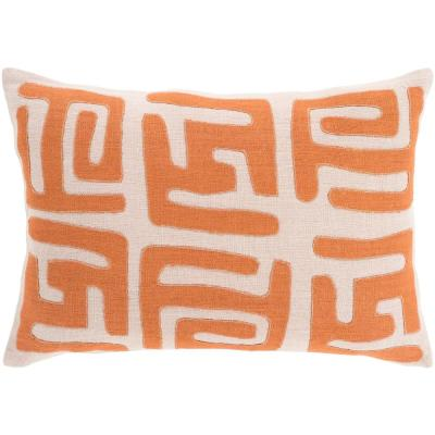 Brunehill Orange Graphic Polyester 19 in. x 19 in. Throw Pillow