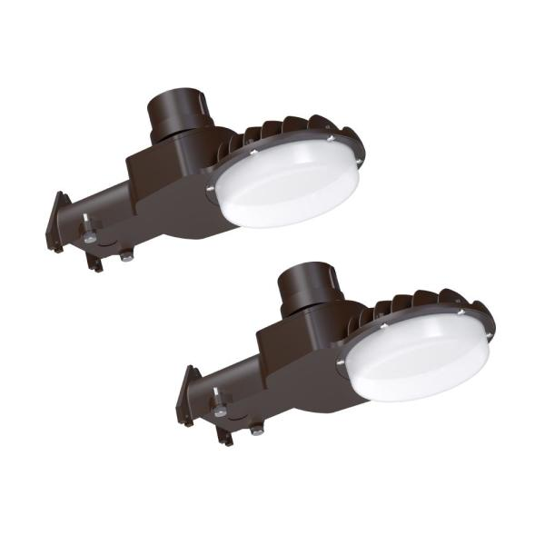 High-Output 350-Watt Bronze Integrated Outdoor LED Area Light, 5000 Lumens, Dusk to Dawn Outdoor Security Light (2 Pack)