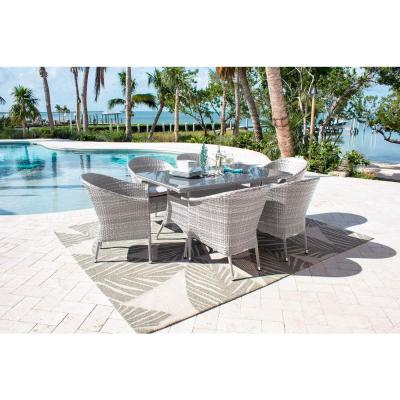 Athens Whitewash 7-Piece Wicker Outdoor Dining Set with Off-White Cushions
